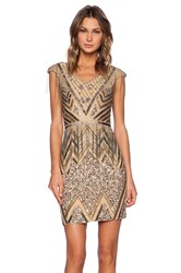 La Maison Sequin V Neck Dress Metallic Gold