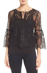 Tahari Women's Elie Calista Bell Sleeve Lace Blouse