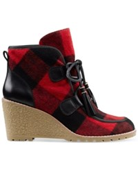 G.H. Bass And Co. Women's Teresa Lace Up Wedge Booties Women's Shoes Red Black Plaid