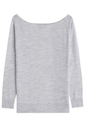 Theory Merino Wool Wide Neck Pullover Grey