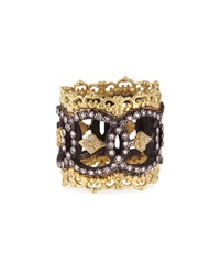 Armenta Midnight And 18K Yellow Gold Open Scalloped Ring With Diamonds