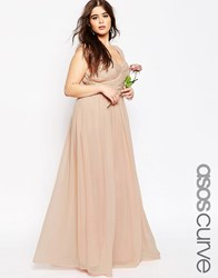 Asos Curve Wedding Maxi Dress With Ruched Panel Nude