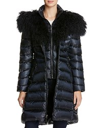 Dawn Levy Camille Mongolian Fur Trim Down Coat Abyss Navy