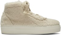 Helmut Lang Off White Shearling Stitched High Top Sneakers