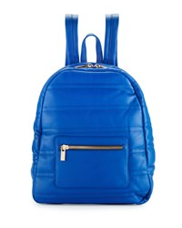 Neiman Marcus Classic Quilted Faux Leather Backpack Cobalt