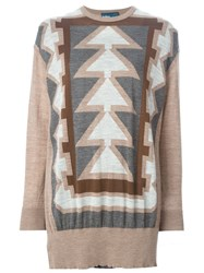 Kolor Geometric Pattern Sweater Nude And Neutrals
