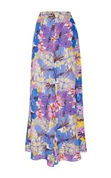 Soler Barcelona Silk Palazzo Trousers Floral
