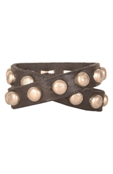 Will Leather Goods Studded Wrap Cuff Black Silver
