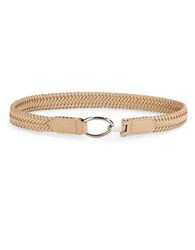 Fashion Focus Woven Faux Leather Belt Beige