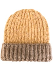 Danielapi Ribbed Folded Beanie Nude And Neutrals