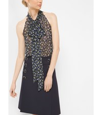 Floral Silk Georgette Sleeveless Bow Blouse