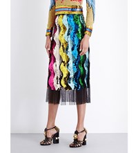 Gucci Pleated Sequin And Tulle Skirt Multi