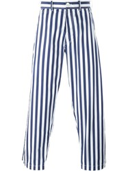 Comme Des Gara Ons Shirt Striped Straight Leg Trousers Blue