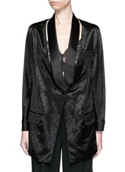 Givenchy Satin Shawl Lapel Diamond Jacquard Suiting Jacket Black