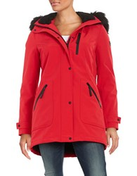 Calvin Klein Faux Fur Trimmed Hooded Anorak Coat Fire