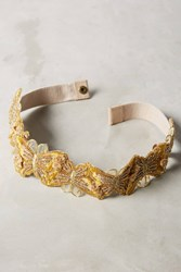 Anthropologie Butterfly Beaded Belt Yellow