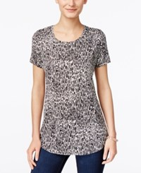 Jm Collection Printed Short Sleeve Top Only At Macy's Neutral Animal