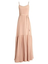 Ryan Roche Sleeveless Dropped Waist Silk Maxi Dress Light Pink