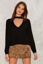 Nasty Gal Down The Rabbit Hole Plunging Sweater Black