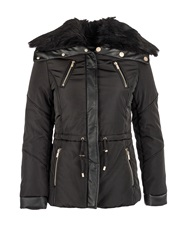 Morgan Furry Collar Quilted Jacket Black