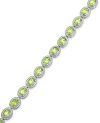 Macy's Peridot 12 3 8 Ct. T.W. And Diamond Accent Oval Bracelet In Sterling Silver
