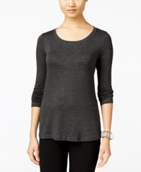 Cable And Gauge Long Sleeve Knit Top Charcoal