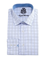 English Laundry Windowpane Check Woven Dress Shirt Blue