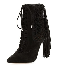 Alexandre Birman Katys Woven Fringe Detailed Lace Up Bootie