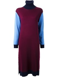 Muveil Roll Neck Knitted Dress Red