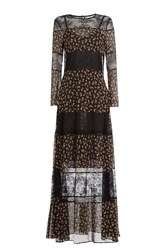 Philosophy Di Lorenzo Serafini Floor Length Printed Silk Dress With Lace Multicolor