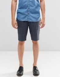 Asos Long Length Tailored Shorts With Fleck In Navy Navy