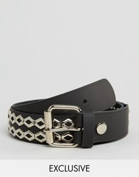 Reclaimed Vintage Leather Studded Belt Black