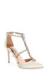 Badgley Mischka Women's 'Decker' Crystal Embellished T Strap Pump Ivory Satin