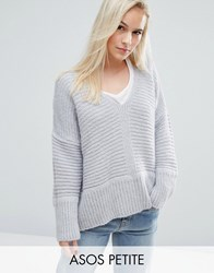 Asos Petite Chunky Sweater In Fluffy Yarn With V Neck Gray