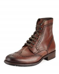 Magnanni Hand Antiqued Wing Tip Leather Boot Mid Brown