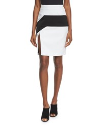 Kendall Kylie High Waist Colorblock Pencil Skirt Black White Women's Blkwht