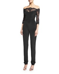 Monique Lhuillier Off The Shoulder Lace Inset Jumpsuit Black Women's