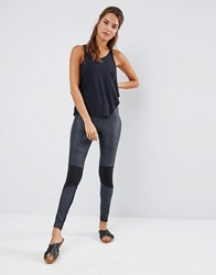 Blue Life Contrast Moto Legging Charcoal Foiled Sn Multi