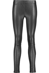 J Brand Metallic Stretch Leather Leggings Gray