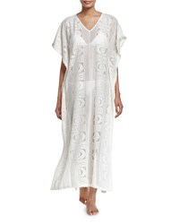 Seafolly Floral Lace Maxi Caftan Coverup Milk