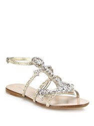 Miu Miu Anchor Crystal Flat Sandals Silver