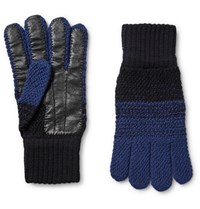 Paul Smith Mith Colour Block Wool And Leather Glove Midnight Blue