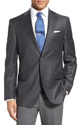 David Donahue Men's 'Connor' Classic Fit Plaid Wool Sport Coat Grey