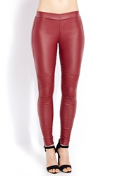 Forever 21 Moto Chic Jeggings Wine