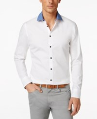 Vince Camuto Contrast Collar Long Sleeve Shirt