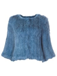 Yves Salomon Meteo By Furry Cropped Jacket Blue