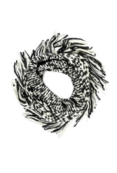Forever 21 Fringed Two Tone Infinity Scarf Black Cream