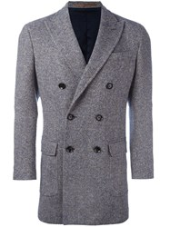 Eleventy Double Breasted Coat Blue