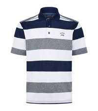 Paul And Shark Stripe Polo Shirt Male White