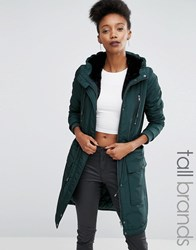 Y.A.S Tall Calvein Sateen Parka Coat With Faux Fur Hood Green